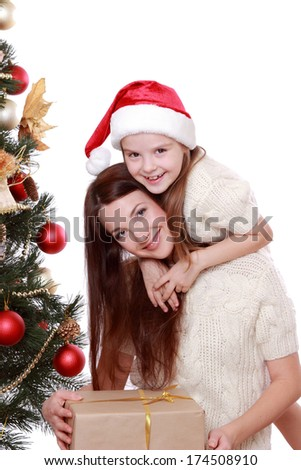 Portrait of beautiful mother and little girl having fun time  - stock photo