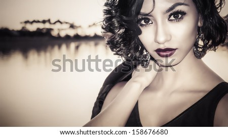 Portrait of beautiful multi racial young woman  - stock photo