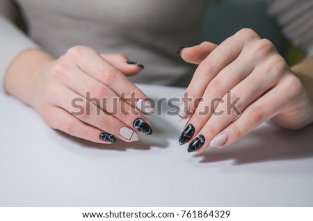 Portrait Of Beautiful Nail Art Manicured Black And White Design Marble