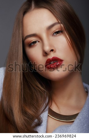 Portrait of Beautiful Nice Looking Well-Groomed Woman - stock photo
