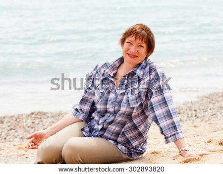 Portrait of  beautiful old lady of  sea - stock photo