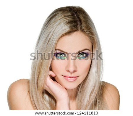 portrait of beautiful peroxide blonde girl on white - stock photo