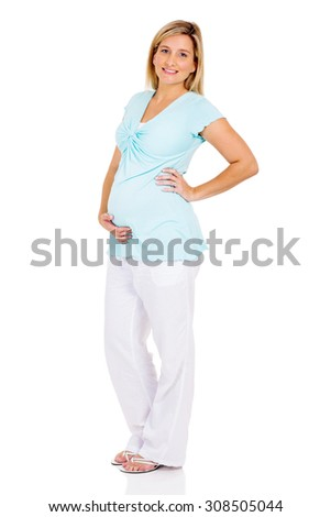portrait of beautiful pregnant woman on white background - stock photo