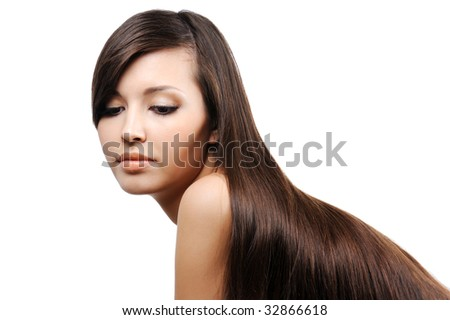 portrait of beautiful pretty young girl with long smooth luxuriant hairs - stock photo