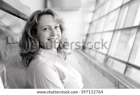 Portrait of beautiful real 35 years old woman - stock photo