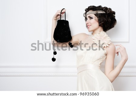 Portrait of beautiful retro bride - stock photo