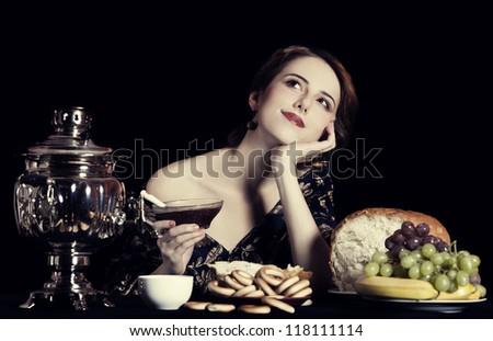 Portrait of beautiful rich russian women. - stock photo