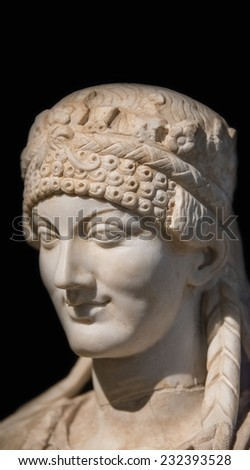 Portrait of beautiful Roman woman realized in stone, Rome, Italy, 2014 - stock photo