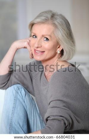 Portrait of beautiful senior woman - stock photo