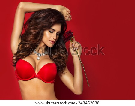 Portrait of beautiful sensual brunette woman with long curly hair. Girl holding red rose. - stock photo