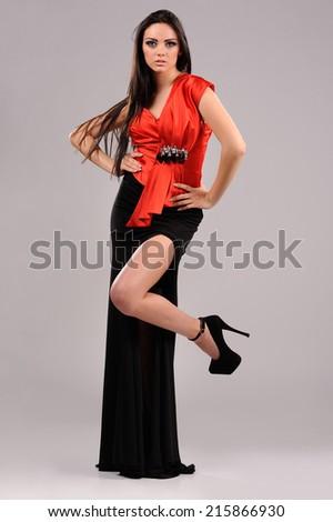 Portrait of Beautiful Sensual Woman in Fashion Dress - stock photo