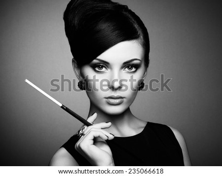 Portrait of beautiful sensual woman with elegant hairstyle.  - stock photo