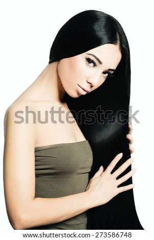 Portrait of Beautiful Sensual Woman with Elegant Hairstyle and Perfect makeup. Fashion photo  - stock photo