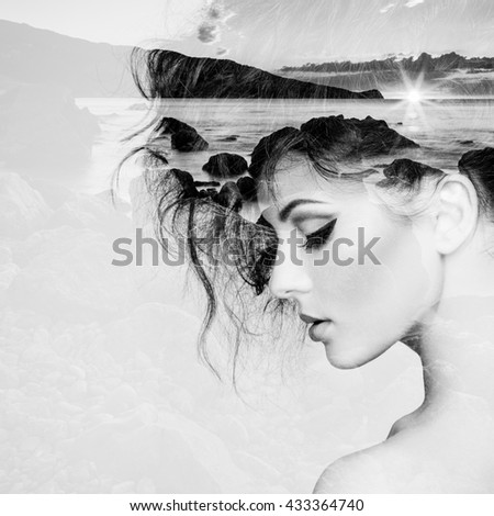 Portrait of beautiful sensual woman with elegant hairstyle.  Fashion photo. Double exposure portrait of woman combined with photograph of nature - stock photo