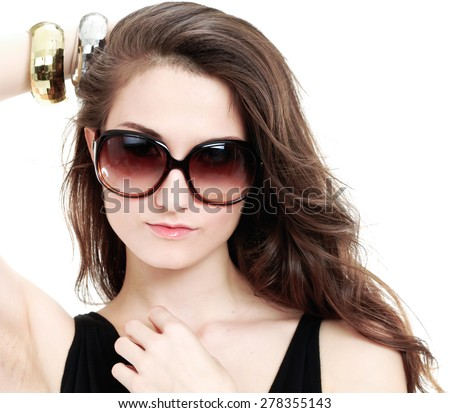 Portrait of beautiful sexy girl in sunglasses