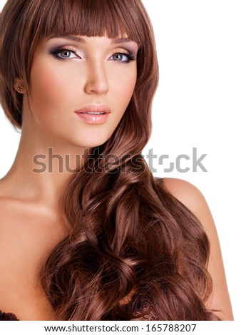 Portrait  of beautiful sexy woman with long red hairs. Closeup face  with curly hairstyle, isolated on white.