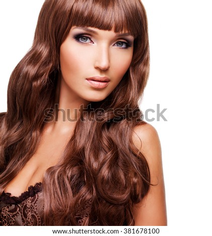 Portrait  of beautiful sexy woman with long red hairs. Closeup face  with curly hairstyle, isolated on white. - stock photo