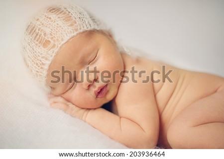 Portrait of Beautiful Sleeping Naked Newborn Baby - stock photo