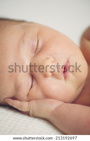 Portrait of Beautiful Sleeping Naked Newborn Baby