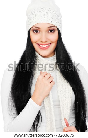 portrait of beautiful smiley woman in white hat
