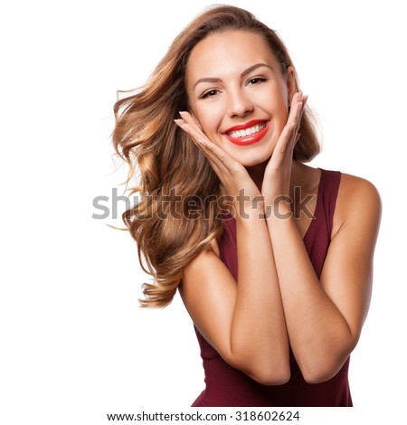 Portrait of beautiful smiling blonde woman with curly hairstyle and bright makeup.  Natural look. studio, isolated. - stock photo