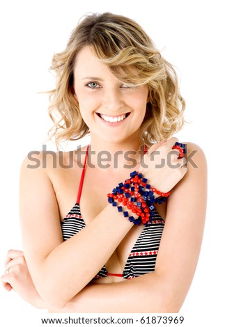 Portrait of  beautiful smiling female in swimsuit, isolated on white - stock photo