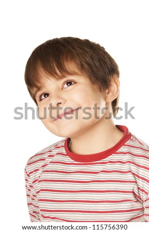 Portrait of beautiful smiling little boy isolated on white background - stock photo
