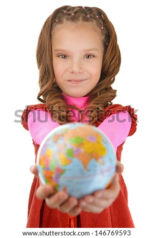 Portrait of beautiful smiling little girl in red dress with globe, isolated on white background.