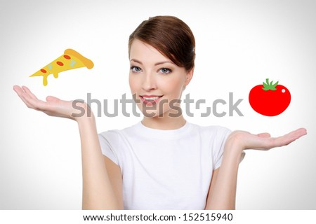 Portrait of beautiful smiling white woman with healthy eating concept - stock photo