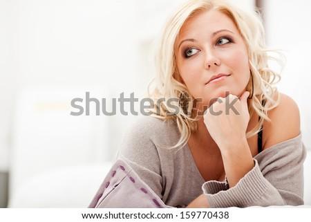 Portrait of beautiful smiling woman - stock photo