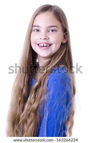 Portrait of beautiful smiling 8 years girl - stock photo