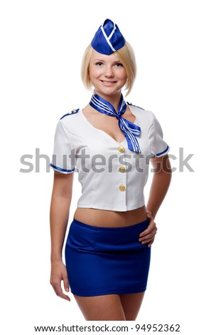 Portrait of beautiful stewardess - stock photo