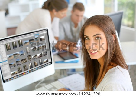 Portrait of beautiful student attending training class - stock photo