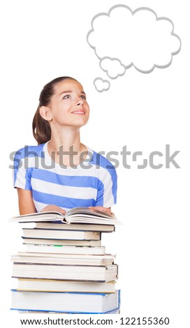 Portrait of beautiful student girl with books on a white background. Speech bubble at the top of the photo for your text - stock photo