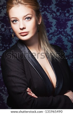 Portrait of beautiful stylish lady. Studio fashion photo - stock photo