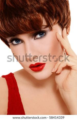 Portrait of beautiful stylish woman with thoughtful expression - stock photo
