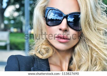 Portrait of beautiful summer girl outdoor. - stock photo