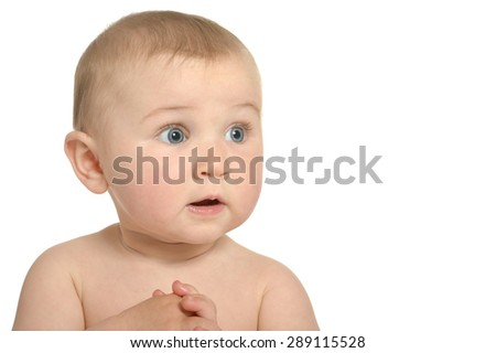 Portrait  of Beautiful surprised cute baby on a white background - stock photo