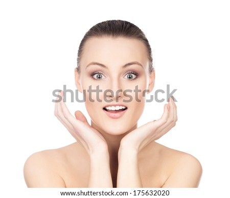 Portrait of beautiful surprised girl isolated on white