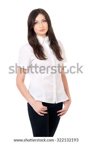 Portrait of beautiful teacher, isolated white background