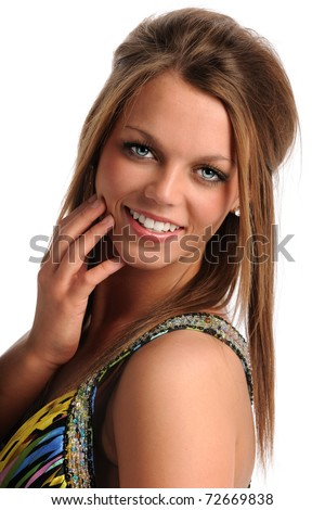 Portrait of beautiful teenager smiling isolated over white background