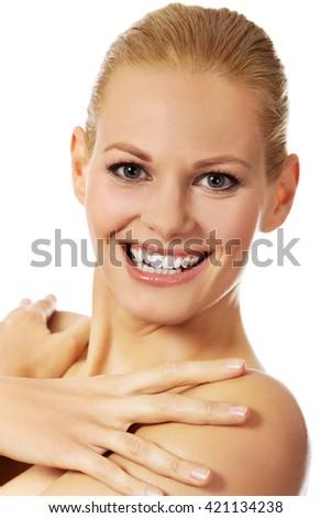Portrait of beautiful topless caucasian woman - stock photo