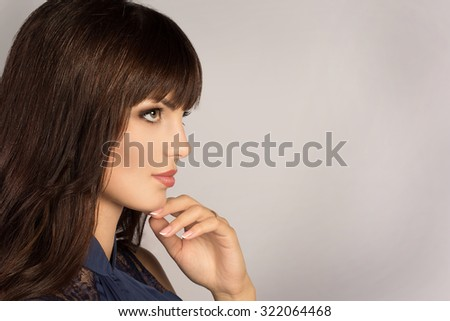 Portrait of beautiful woman. Beautiful woman with evening make-up. Fashion photo - stock photo