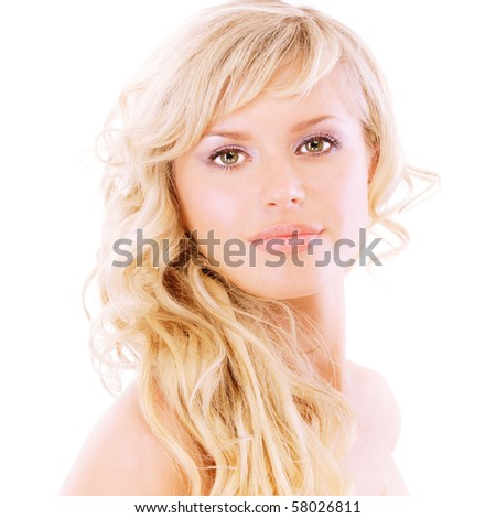 Portrait of beautiful woman close up, isolated on white background.