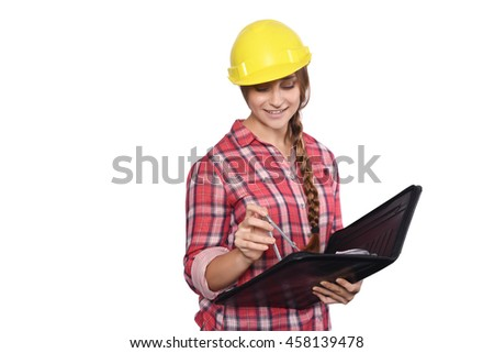 Portrait of beautiful woman construction worker with a compass and a folder. Isolated white background. - stock photo