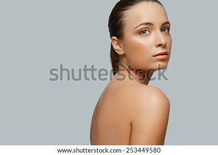 Portrait of Beautiful Woman. Cosmetology. Skin Care - stock photo