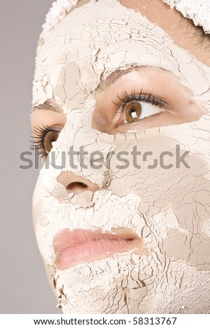 Portrait of beautiful woman during spa treatment - stock photo