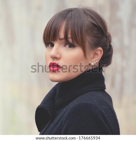 Portrait of beautiful woman fashion model - stock photo