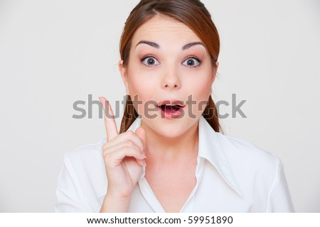 portrait of beautiful woman have the idea - stock photo