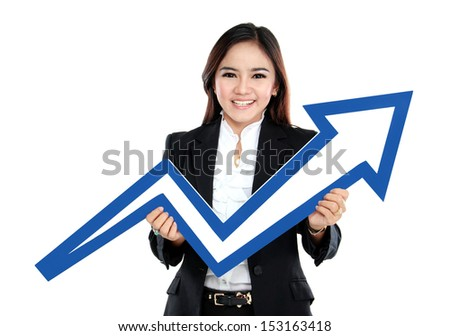 Portrait of beautiful woman holding chart arrow sign isolated over white background